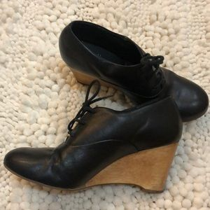 J Jill black leather lace-up wedges with wood base
